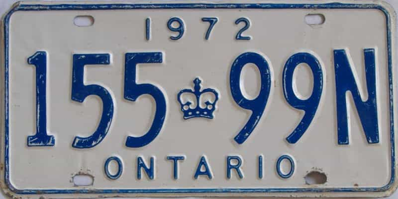 1972 Ontario (Single) license plate for sale