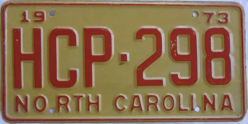 1973 North Carolina license plate for sale