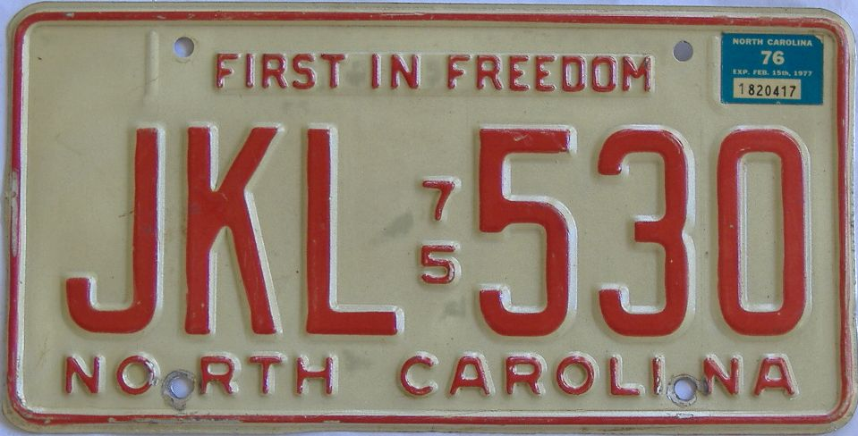 1976 North Carolina license plate for sale
