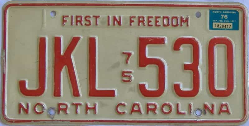 1976 NC license plate for sale