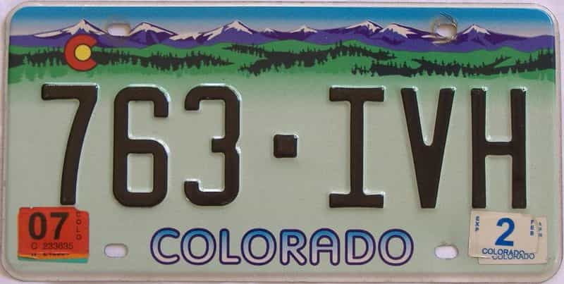 2007 CO (Single) license plate for sale