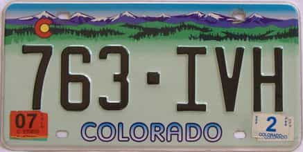 2007 Colorado (Single) license plate for sale