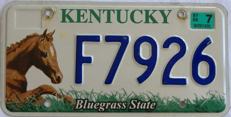 2006 KY (Natural) license plate for sale