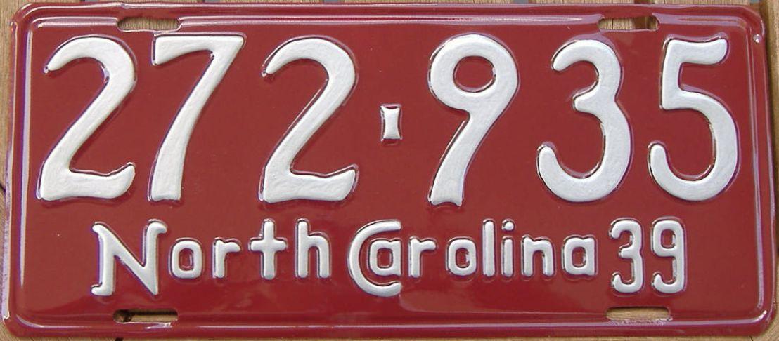 RESTORED 1939 North Carolina (Single) license plate for sale
