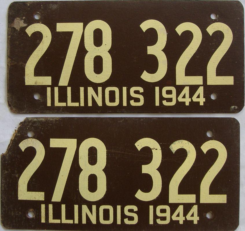 1944 Illinois (Fiber Board) license plate for sale