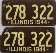 1944 Illinois  (Fiber Board) license plate for sale
