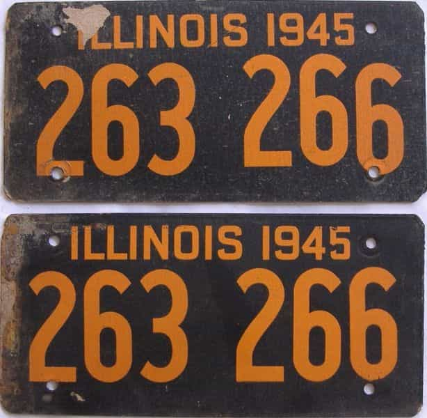 1945 Illinois (Fiber Board) license plate for sale