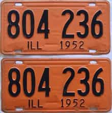1952 Illinois  (Pair) license plate for sale