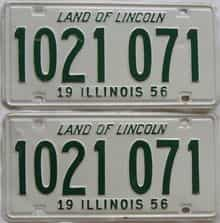 1956 Illinois (Pair) license plate for sale