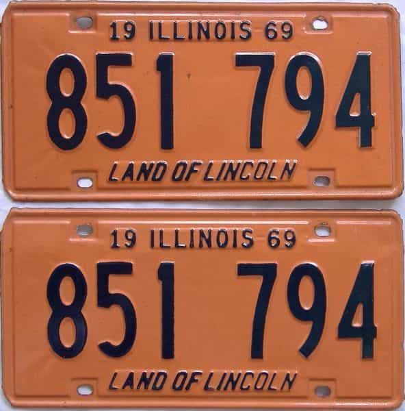 1969 Illinois  (Pair) license plate for sale