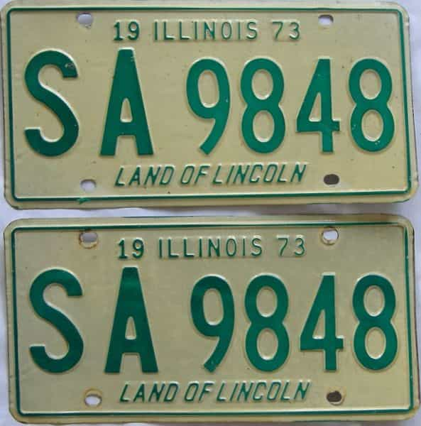 1973 Illinois (Pair) license plate for sale
