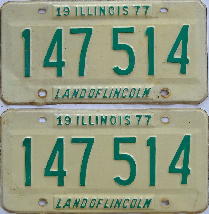 1977 Illinois (Pair) license plate for sale