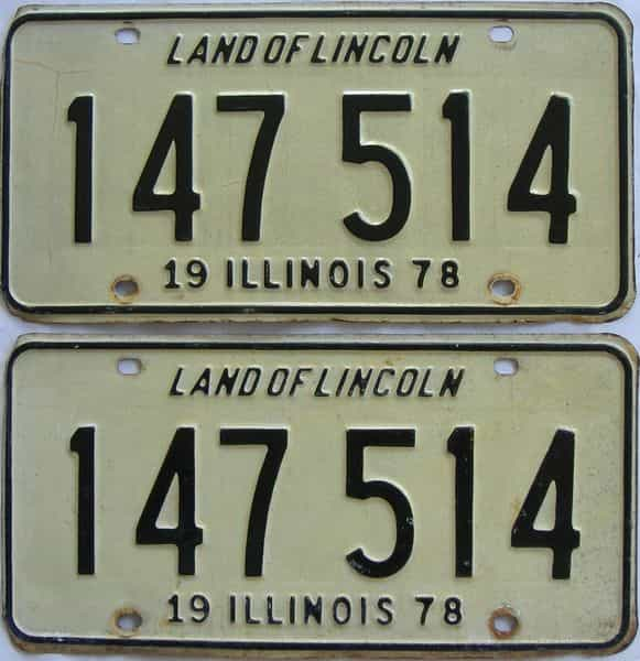 1978 Illinois (Pair) license plate for sale