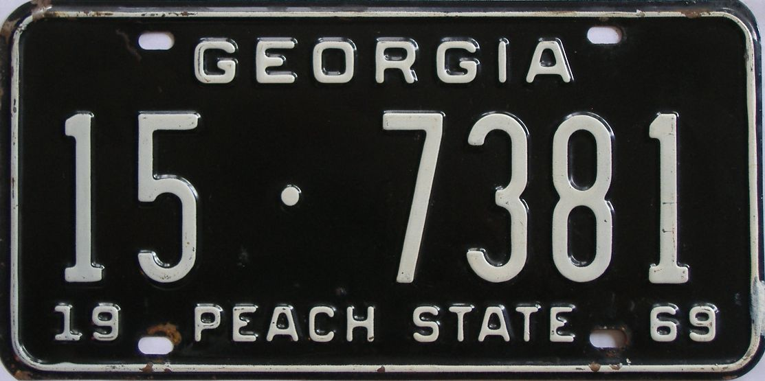 YOM 1969 Georgia license plate for sale