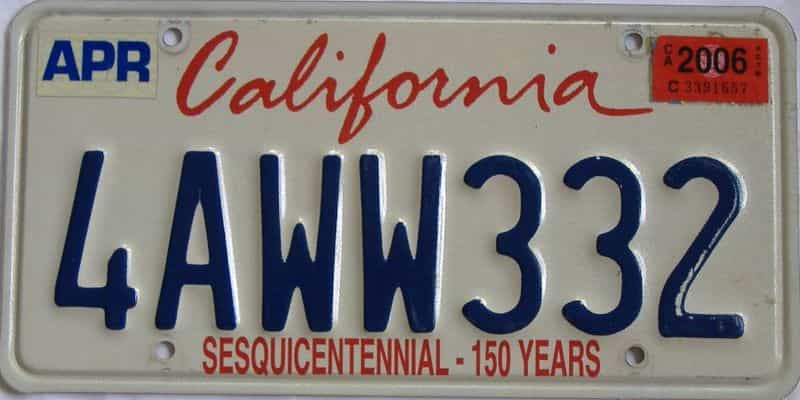 2006 California (Single) license plate for sale