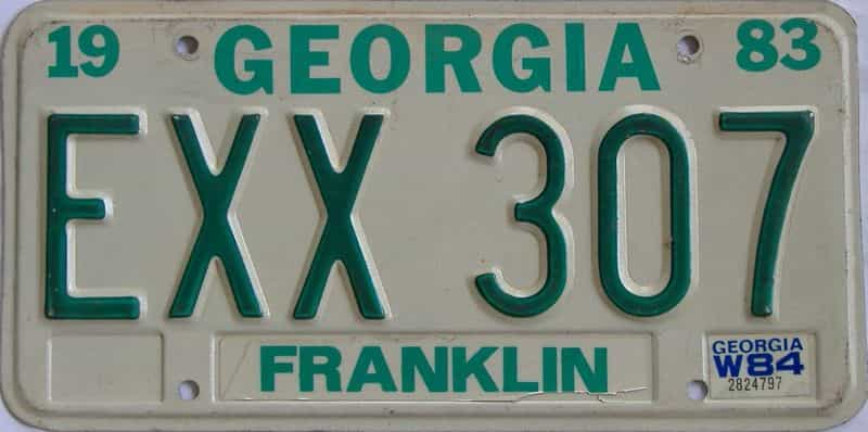 1984 GA license plate for sale