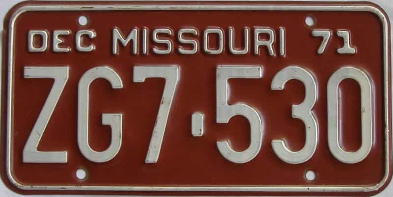 1971 MO license plate for sale