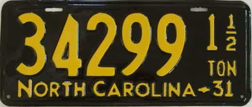 RESTORED 1931 North Carolina  (Truck) license plate for sale