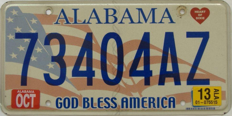2013 Alabama license plate for sale