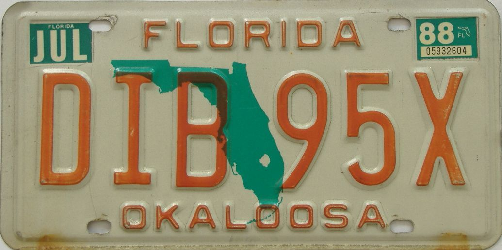 1988 Florida license plate for sale