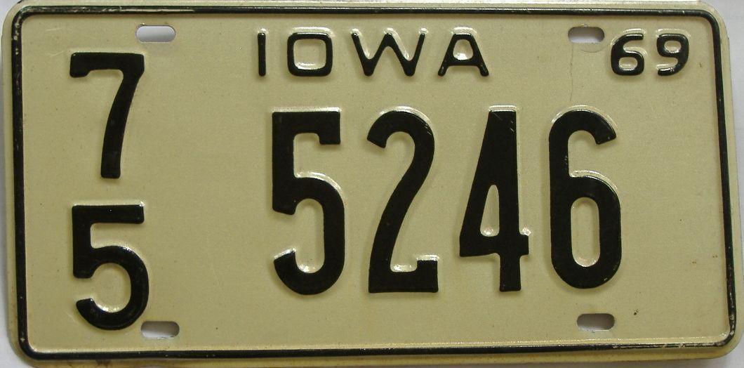 1969 Iowa (Single) license plate for sale