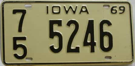 1969 Iowa  (Single) license plate for sale