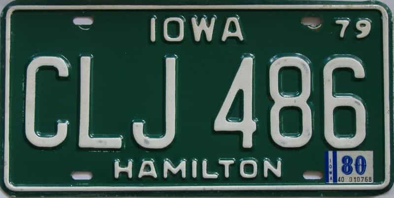 1980 Iowa (Single) license plate for sale
