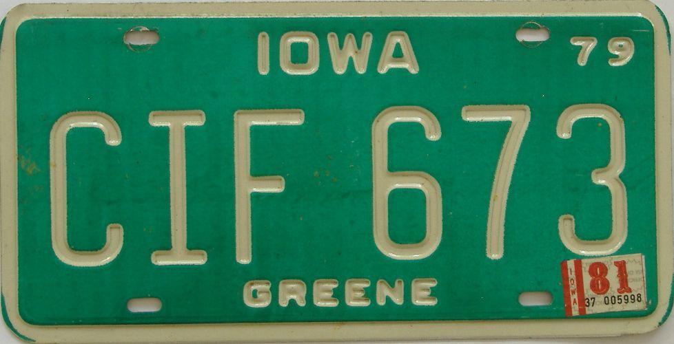 1981 Iowa (Single) license plate for sale