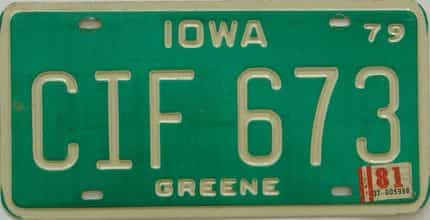 1981 Iowa  (Single) license plate for sale
