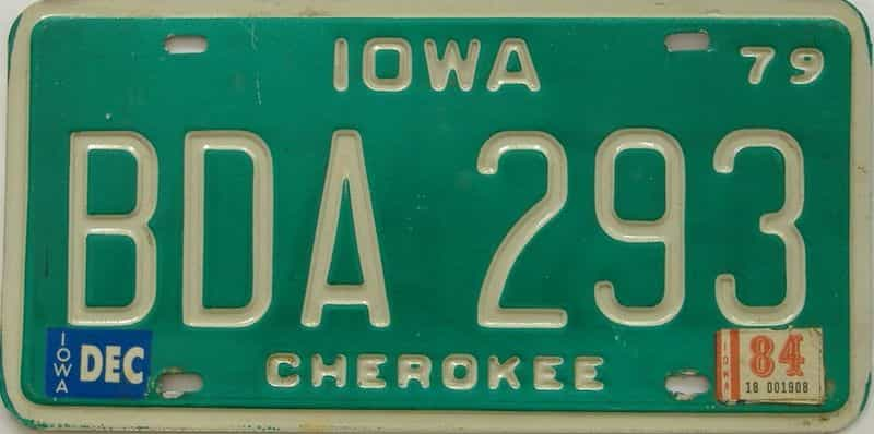 1984 Iowa (Single) license plate for sale