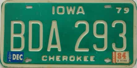 1984 Iowa  (Single) license plate for sale