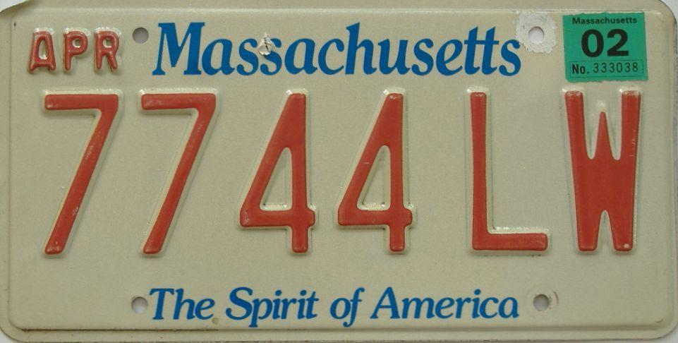 2002 Massachusetts (Single) license plate for sale