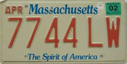 2002 Massachusetts (Single) license plate for sale