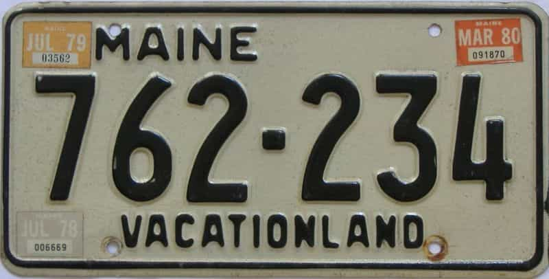 1980 Maine  (Single) license plate for sale