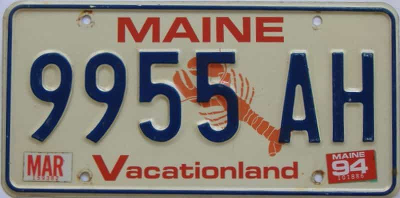 1994 Maine (Single) license plate for sale