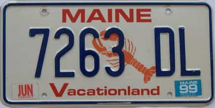 1999 Maine (Single) license plate for sale