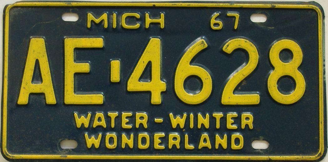 1967 Michigan (Single) license plate for sale