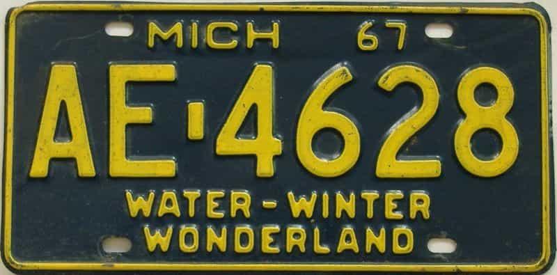 1967 MI (Single) license plate for sale
