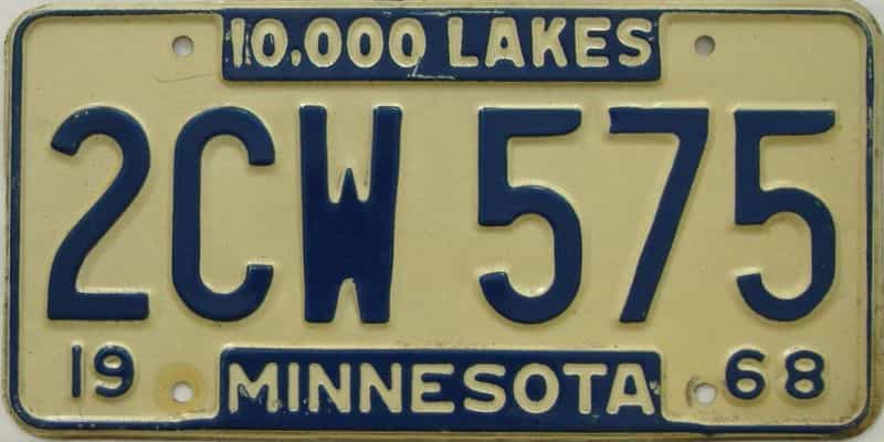 1968 MN (Single) license plate for sale