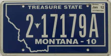 2012 Montana (Single) license plate for sale