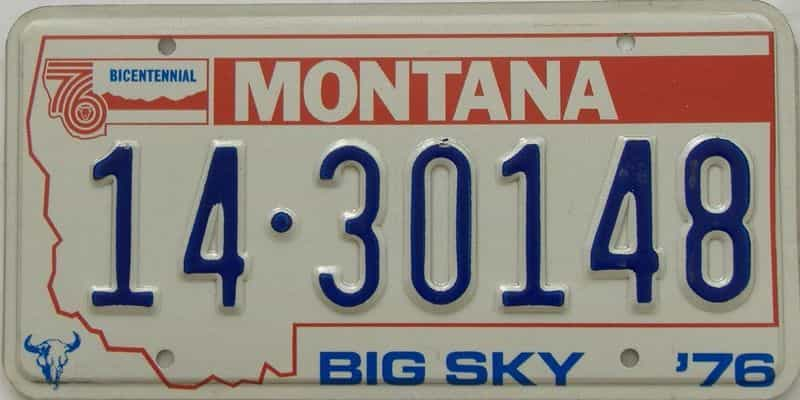 1976 MT (Single) license plate for sale