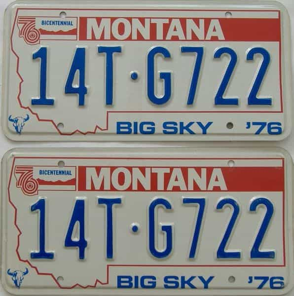 1976 MT (Pair) license plate for sale