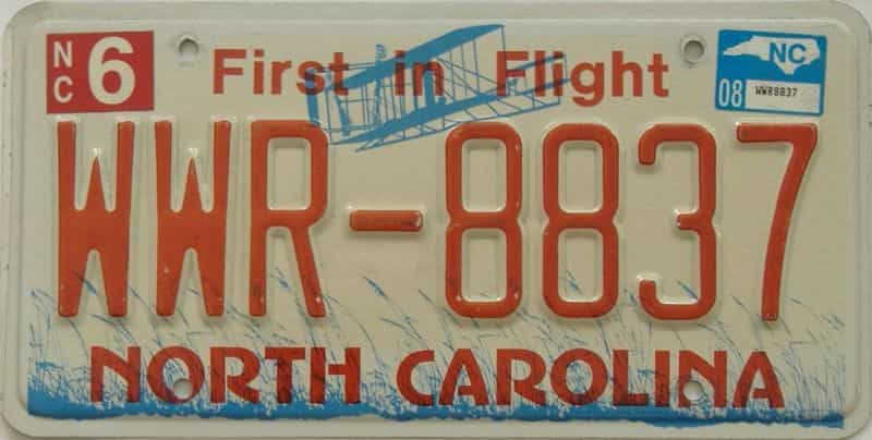 2008 North Carolina license plate for sale