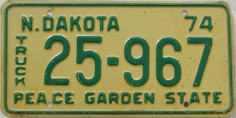1974 ND (Truck) license plate for sale