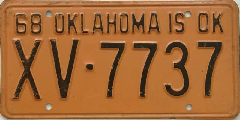 1968 OK license plate for sale