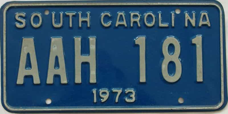1973 South Carolina license plate for sale