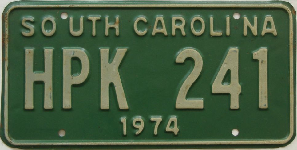 1974 South Carolina license plate for sale