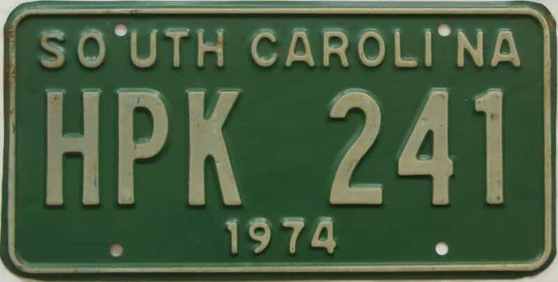 1974 South Carolina  (Single) license plate for sale