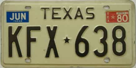 1980 Texas (Single) license plate for sale