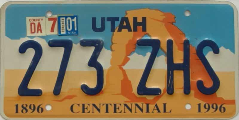 2001 UT (Single) license plate for sale